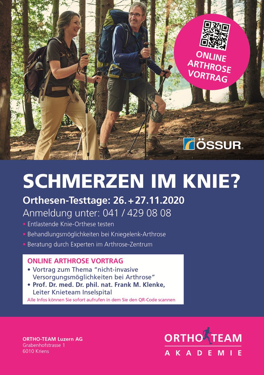 Arthrose Orthesen Testtage in Luzern